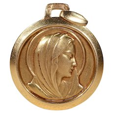 French Vintage St. Mary Pendant 18k Gold Madonna