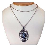 Vintage Blue Paste Silver Pendant Necklace