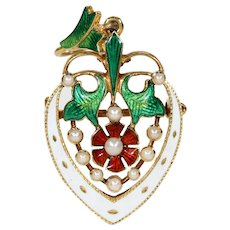 Stunning Victorian Enameled Heart Rose Pendant Brooch Pin