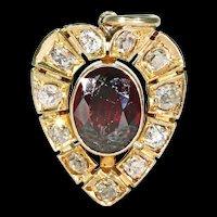 Antique Victorian Garnet Diamond Heart Pendant 18K