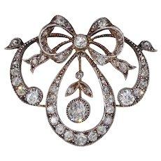 Victorian Diamond Bow Pendant Silver over Gold