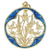 Antique French Plique-a-jour Enamel Thistle Pendant Gold