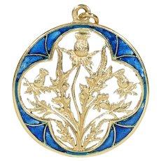 Antique French Plique-a-jour Enamel Thistle Pendant Gold