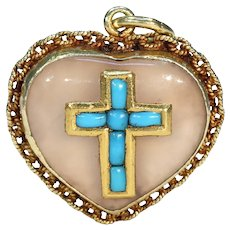 Georgian Locket Backed Heart Pendant Gold Turquoise Agate