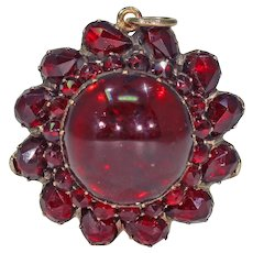 Victorian Garnet Pendant with Large Cabochon Center