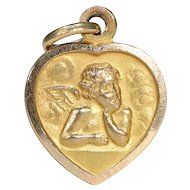 Vintage Heart Shaped French Angel Pendant