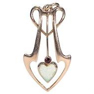 Art Nouveau Heart Shaped Opal Garnet Pendant 9k Gold