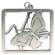 Vintage Silver Butterfly Pendant Scandinavian MidCentury