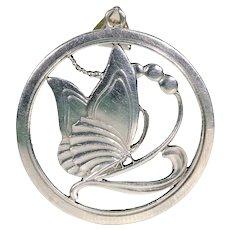 Silver Bernhard Hertz Sterling Silver Butterfly Pendant