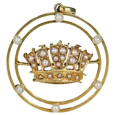 Victorian Gold Pearl Crown Pendant 15k