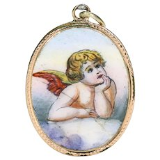 Antique German Enameled Pendant Angel 14k Gold