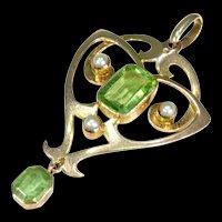 Antique Arts & Crafts Era Peridot Pearl Gold Pendant Necklace