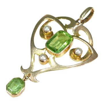 Antique Arts & Crafts Era Peridot Pearl Gold Pendant Necklace