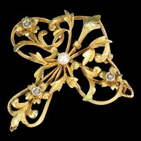 Antique French 18K Diamond & Pearl Brooch Pendant, Fleur de Lis