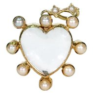 Victorian Heart Crystal Locket Pendant with Pearls