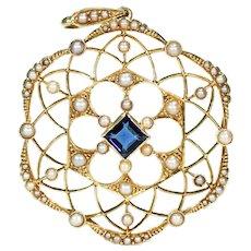 Fantastic Edwardian Pearl Sapphire Pendant 15k Gold