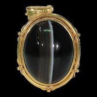 Victorian Etruscan Revival Banded Agate Pendant 15k Gold
