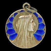 Plique-a-Jour Virgin Mary Signed Pendant Silver Gilt Cobalt Blue