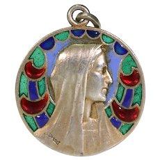 Antique French Silver Gilt Plique a Jour Pendant Virgin Mary