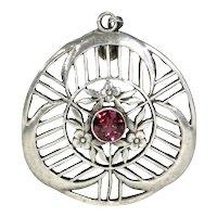 Arts and Crafts Silver Garnet Pendant Liberty Attrib