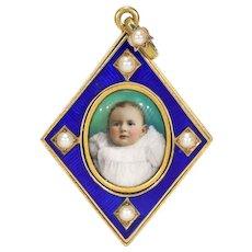 Gorgeous Enamel Miniature Baby Portrait Pendant Locket 15k Gold Pearls
