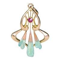 Art Nouveau Gold Ruby Enamel Pendant