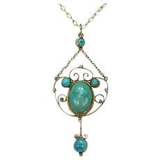 Silver Turquoise Drop Pendant