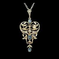 Fabulous English Lavalier Aqua Pearl Pendant 15k Gold
