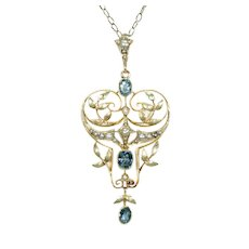 Fabulous English Lavalier Aqua Pearl Pendant 15k Gold