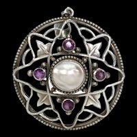 Antique Arts and Crafts Amethyst Blister Pearl Silver Pendant by William Hair Haseler