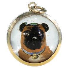 Victorian Essex Crystal Pug Dog Pendant