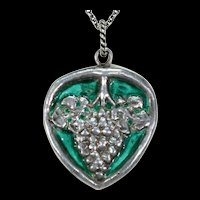 Arts and Crafts Silver Green Enamel Grapes Pendant