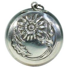 Antique Art Nouveau Thistle Pill Box Pendant Locket Silver