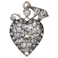 Antique Victorian Paste Silver Heart Pendant