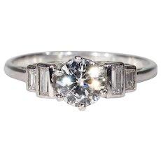 Gorgeous Vintage Diamond Engagement Ring, Platinum Solitaire 1ctw