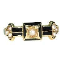 Victorian Black Enamel Pearl 18k Gold Ring Memorial