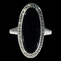 Art Deco Long Oval Onyx Marcasite Silver Ring