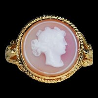 Antique Hard Stone Cameo Ring, Conversion in 14k & 18k Gold