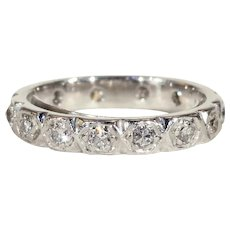 Vintage Diamond Eternity Band Wedding Ring in 14k White Gold, Size 5