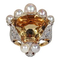 Vintage Calf Cut Citrine Pearl Diamond Crown Ring