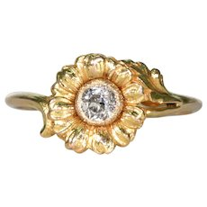 Antique 14k Gold Diamond Daisy Ring