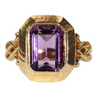 Antique Amethyst Set 18k Gold Ring