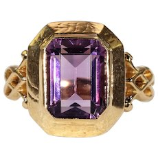 Antique Amethyst Set 18k Gold Ring