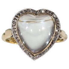 Antique Edwardian Moonstone Diamond Heart Ring