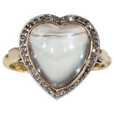 Antique Edwardian Moonstone Diamond Heart Ring