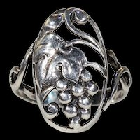 Silver Grape Leaves and Clusters Ring