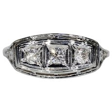 Vintage Art Deco 3 Diamond Engagement Ring Filigree