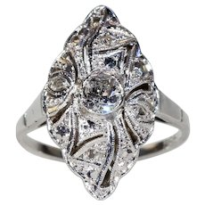 Art Deco Navette Diamond Ring White Gold