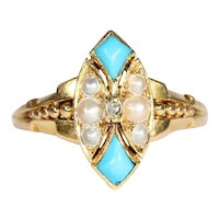 Antique Victorian Pearl, Turquoise, and Diamond Ring, 18k Gold Navette