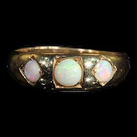 Antique Victorian 3 Stone Opal Ring in 9k Gold